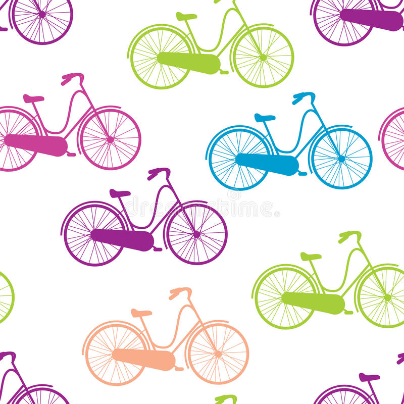 Vector seamless pattern bicycles stock illustration