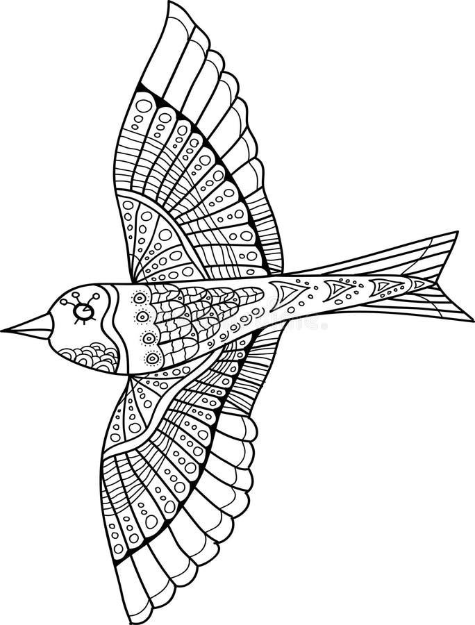 Vector seamless pattern. Bird doodle stock photo