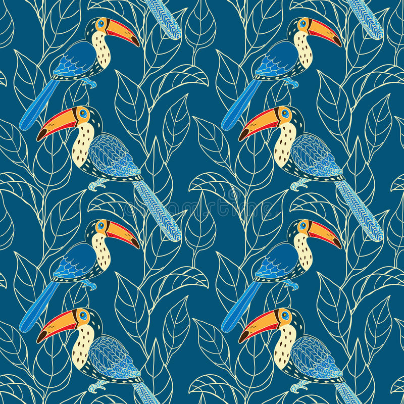 Download Vector Seamless Pattern With Birds And Leaves Stock Vector - Illustration of leaf, blue: 31989393