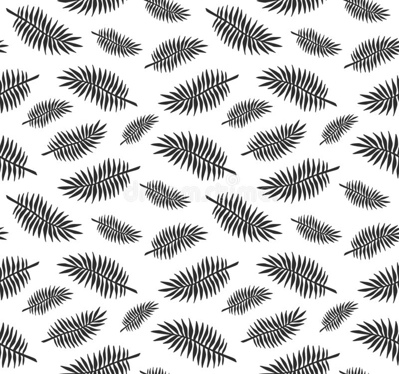 Vector seamless pattern of black ink hand drawn palm tree leaves silhouette isolated on white royalty free illustration