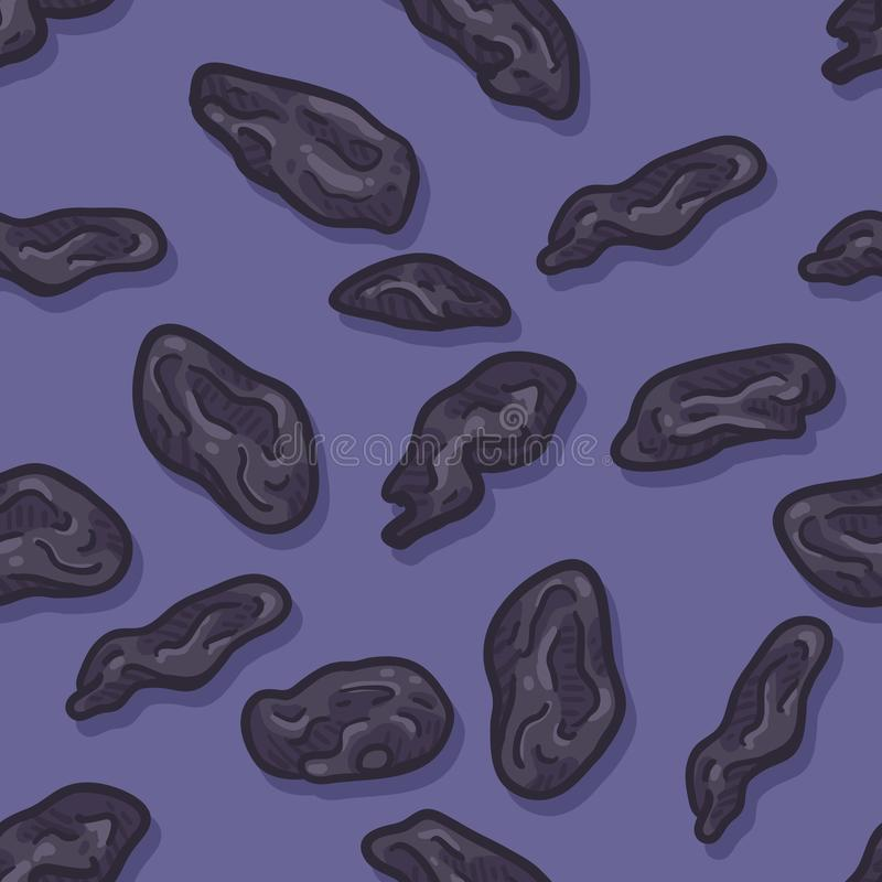 Vector Seamless Pattern of Black Raisin. On Purple Background vector illustration
