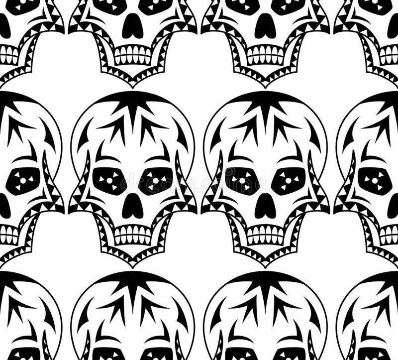 Vector seamless pattern of black sugar skull with geometric ornament on white background. Coloring page book for Mexican Day stock illustration