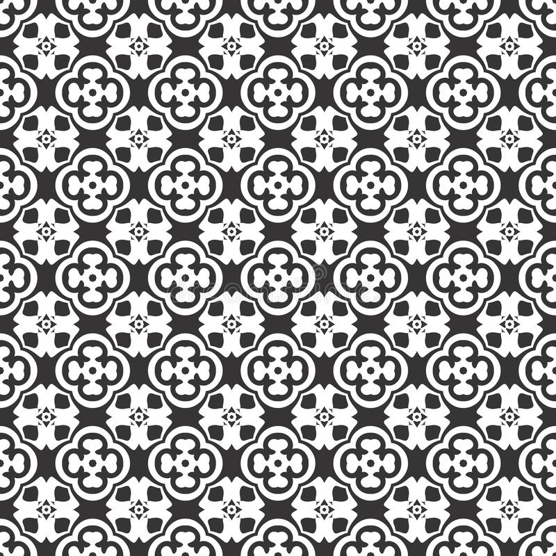 Black and white vector seamless pattern, touch of abrtract. stock illustration