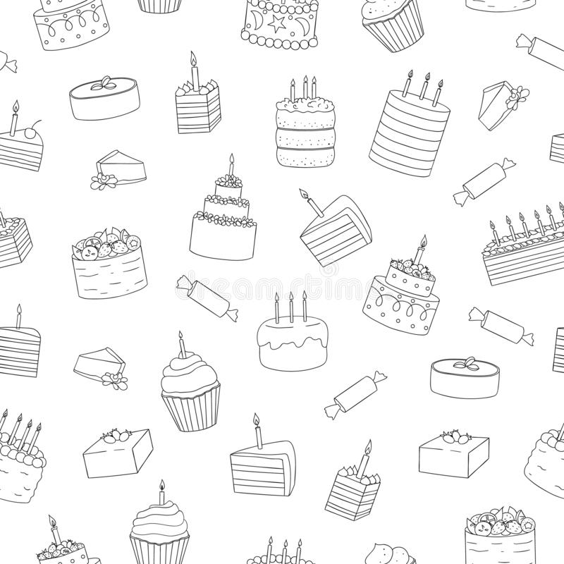 Vector seamless pattern of black and white cakes with candles royalty free illustration