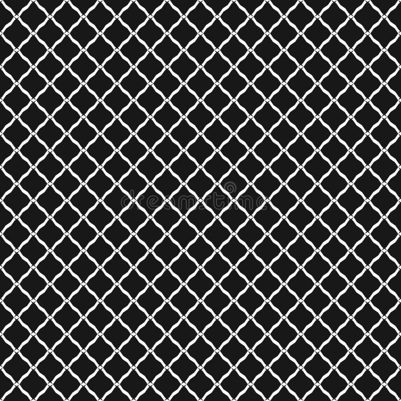 Vector seamless pattern, black and white geometric texture of mesh, net, grid. Vector seamless pattern, simple black and white geometric texture. Simple stock illustration