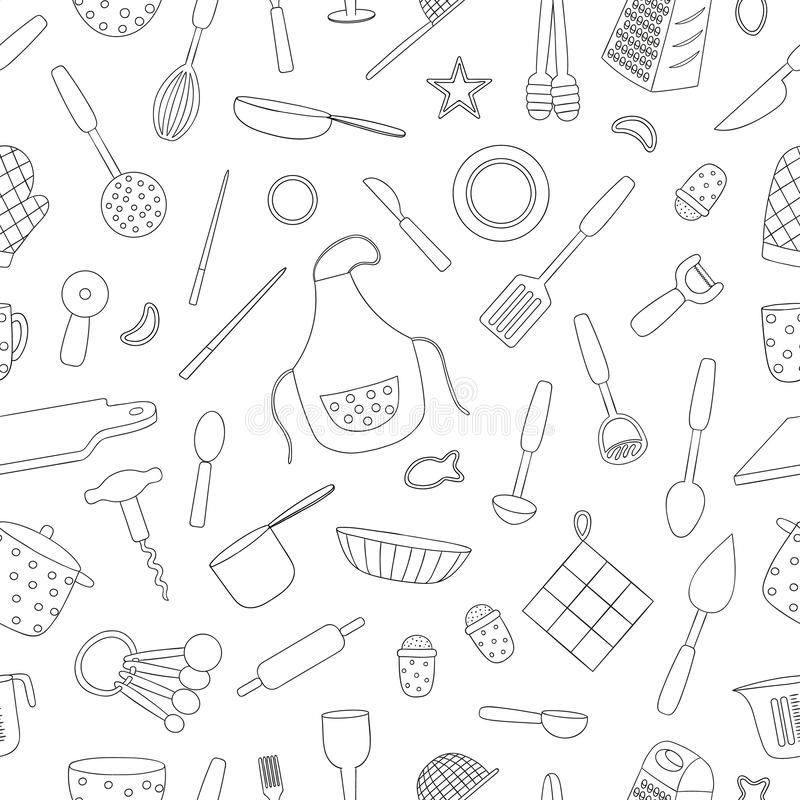 Vector Seamless Pattern Of Black And White Kitchen Tools Stock Vector Illustration Of Ornament Beautiful 145150767