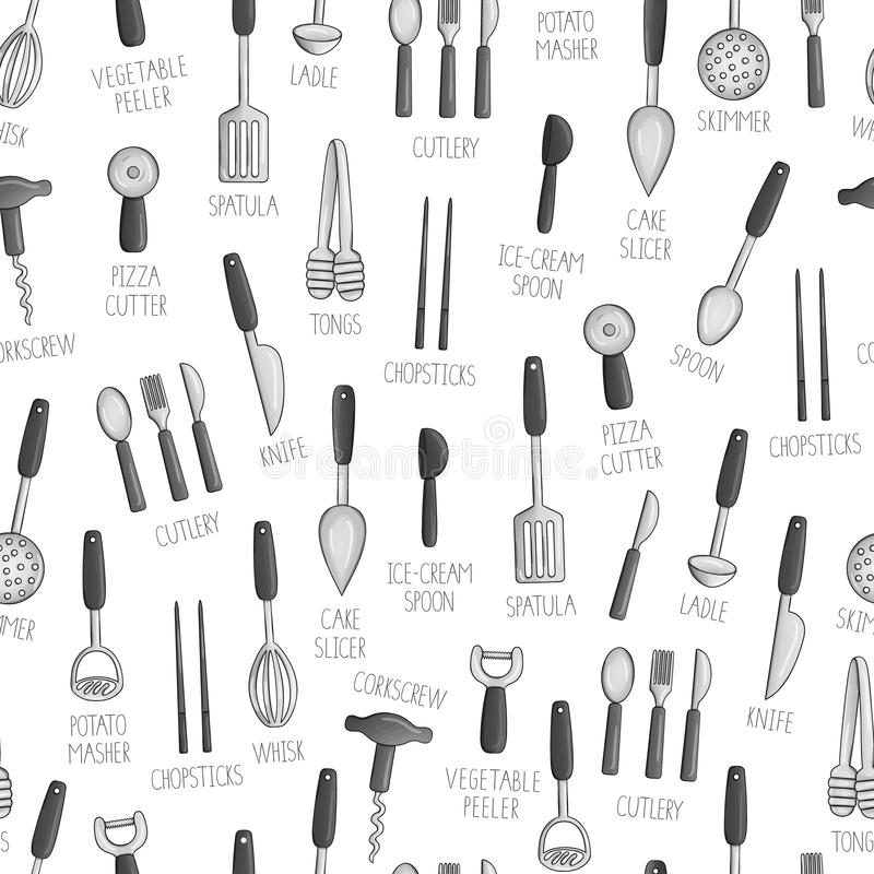 Vector seamless pattern of black and white kitchen tools. royalty free illustration