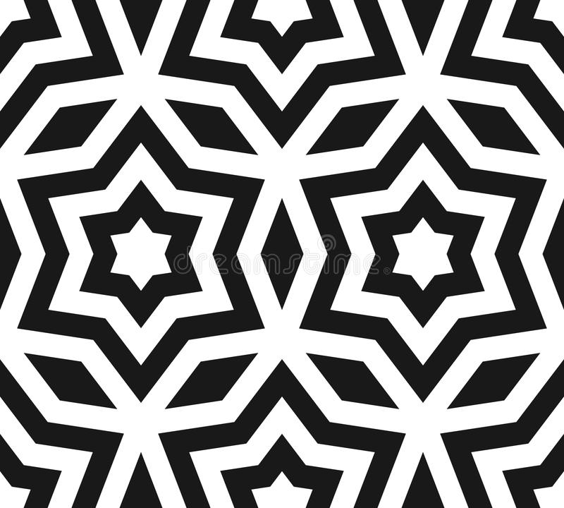 Vector seamless pattern, black & white ornament texture with lin. Ear stars, angular geometric figures. Abstract geometric monochrome background, repeat tiles royalty free illustration