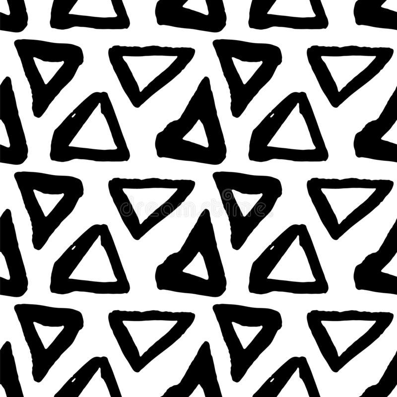 Vector seamless pattern. Black and white painted watercolor points, dots, lines, strips. Hand drawn texture elements vector illustration