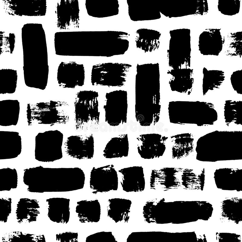 Vector seamless pattern. Black and white painted watercolor strips. Hand drawn texture elements. royalty free illustration