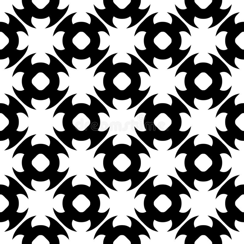 Vector seamless pattern, black & white texture. Vector monochrome seamless pattern. Abstract black & white geometric texture in oriental style, repeat tiles stock illustration