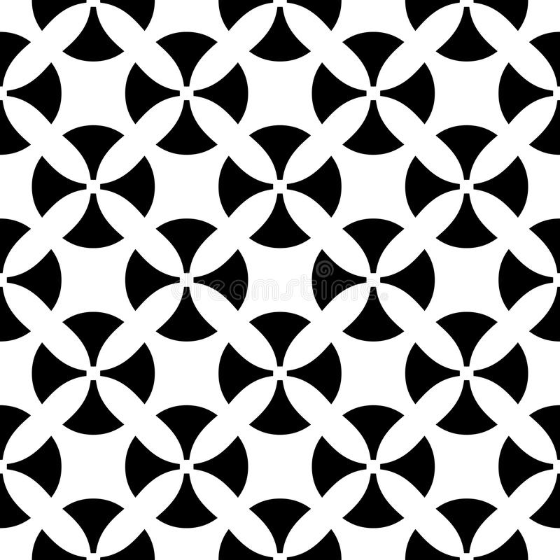 Vector seamless pattern, black & white texture. Vector monochrome seamless pattern. Simple black & white texture, illustration with smooth geometric figures in royalty free illustration