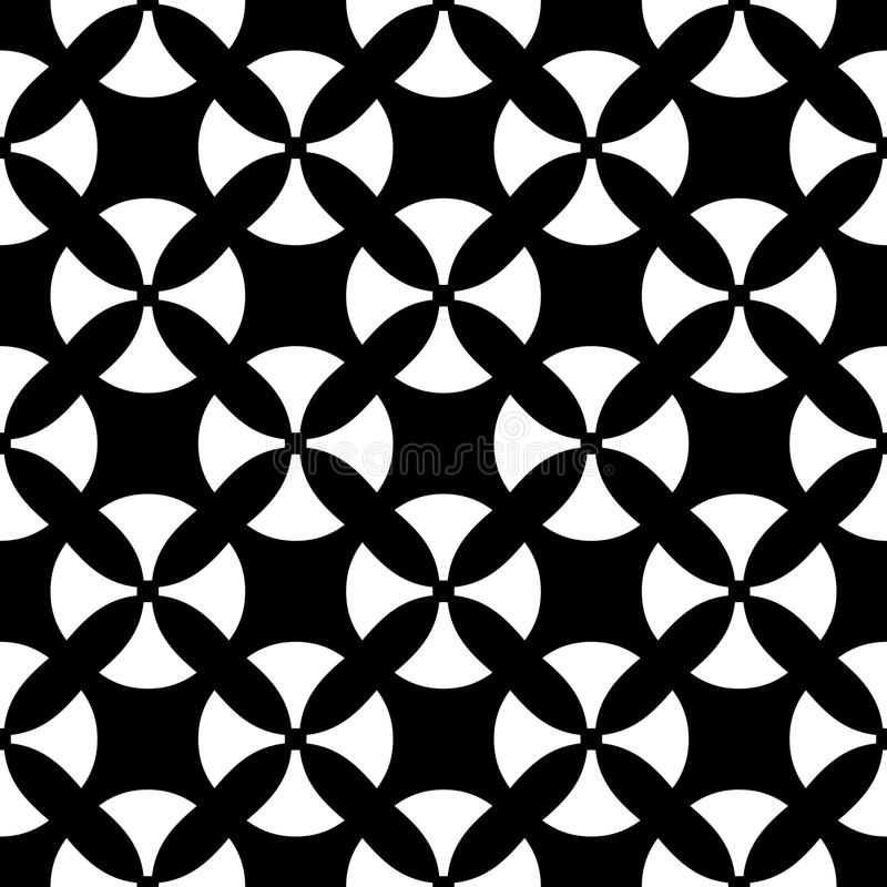 Vector seamless pattern, black & white texture. Vector monochrome seamless pattern. Simple black & white texture, illustration with smooth geometric figures in stock illustration