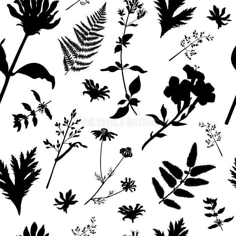 Vector seamless pattern with black wild plants stock illustration