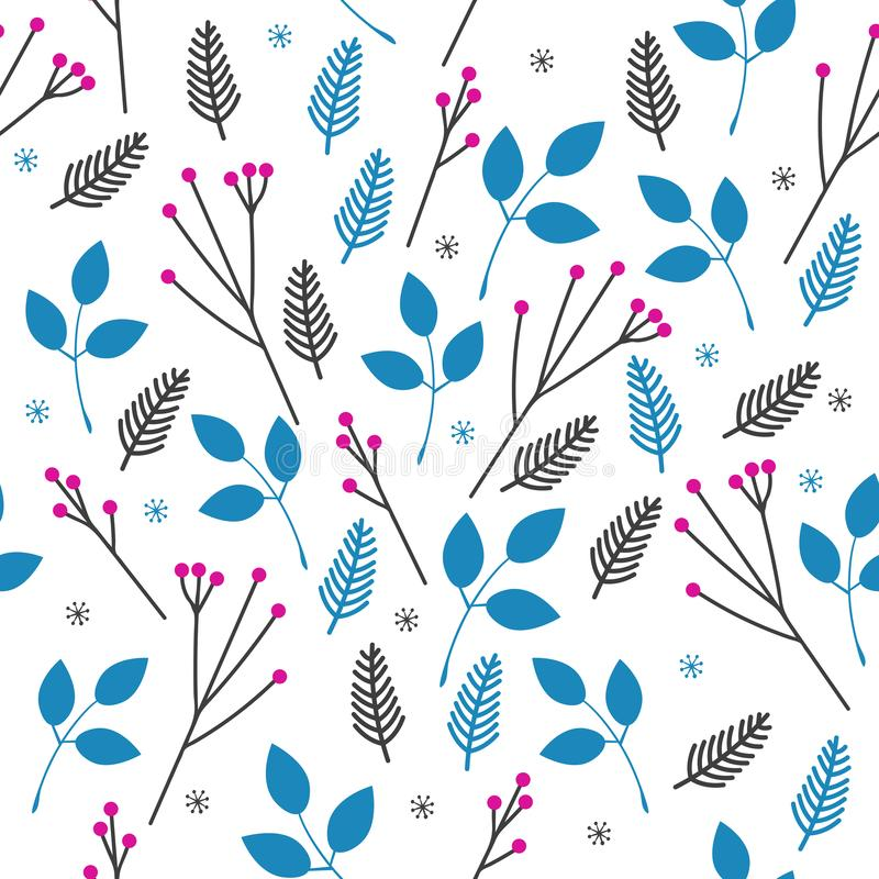 Vector seamless pattern of blue leaves and pink berries on branches on white background. Simple style illustration royalty free illustration