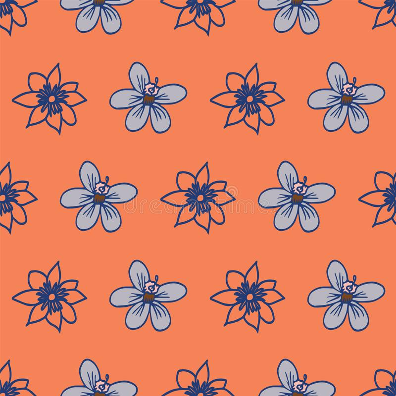 Vector line art floral seamless pattern repeat vector illustration