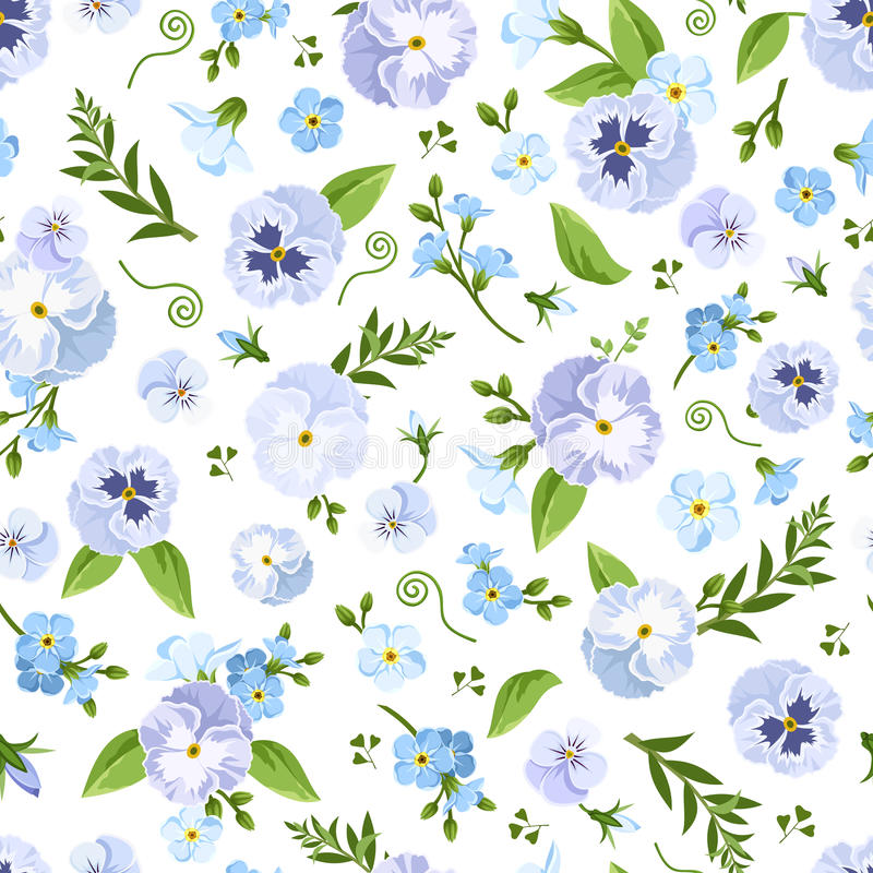 Vector seamless pattern with blue pansy and forget-me-not flowers. vector illustration