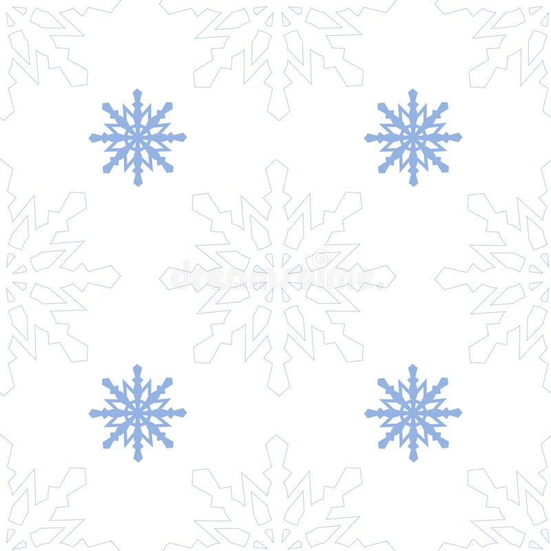 Vector seamless pattern with blue snowflakes. Winter background with falling snow on white. Stylish backdrop for Christmas winter stock illustration