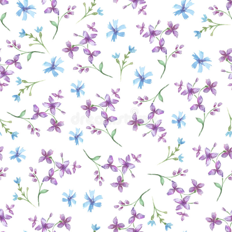 Vector seamless pattern with blue watercolor flowers. vector illustration