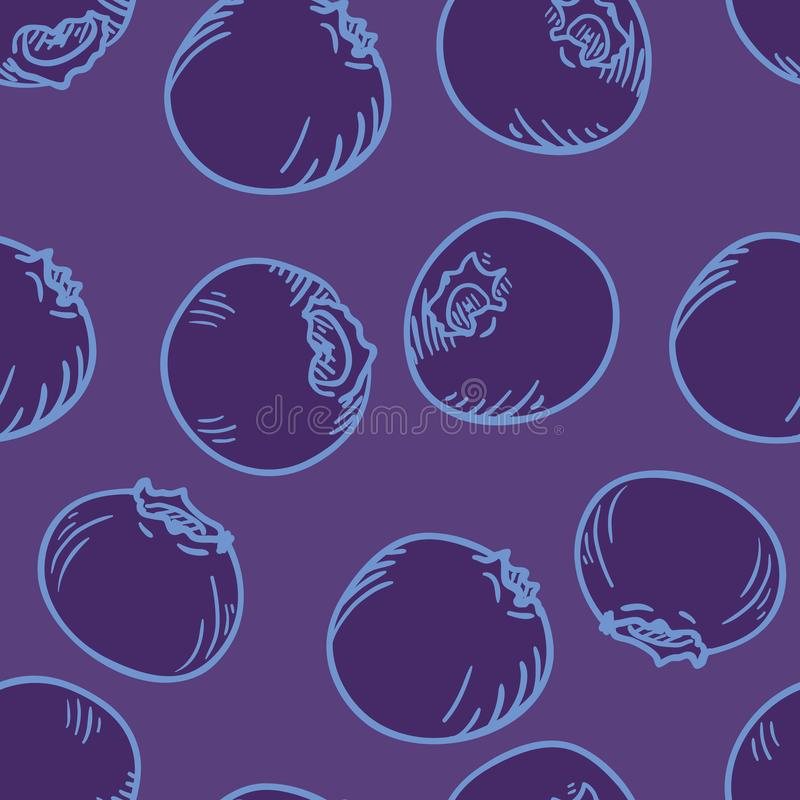 Vector Seamless Pattern of Blueberries stock illustration