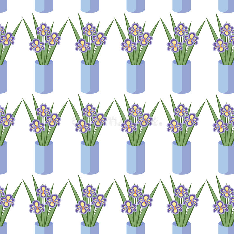 Vector seamless pattern with bouquets of iris flowers in blue vase. vector illustration
