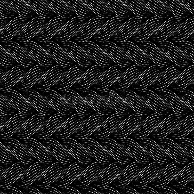 Vector seamless pattern with braids. Texture of yarn with dotted line plaits close-up. Abstract ornamental background. Endless sty stock illustration