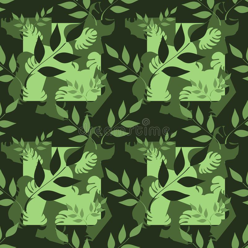 Vector seamless pattern, branches with leaves, tropical leaves on dark background. Abstract spots. Hand drawn illustration. stock illustration