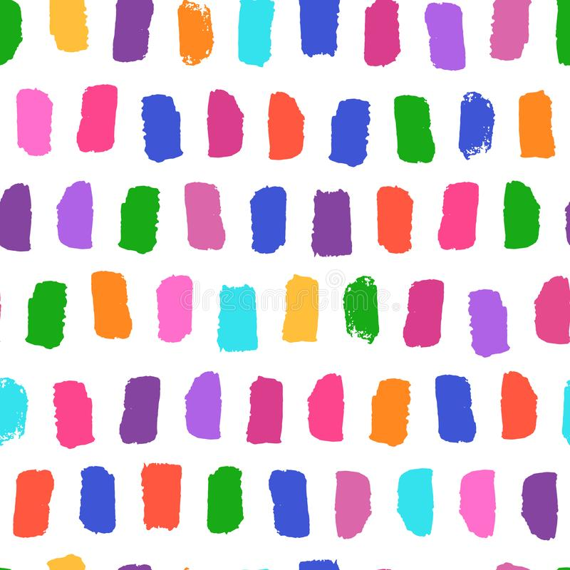 Vector seamless pattern with bright brushstrokes hand painted. Dynamic striped print texture illustration royalty free stock image