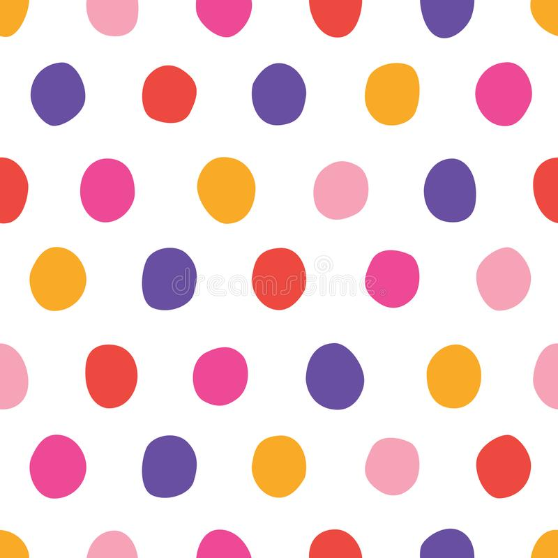 Vector seamless pattern with bright colorful hand drawn polka dots on a white background stock illustration