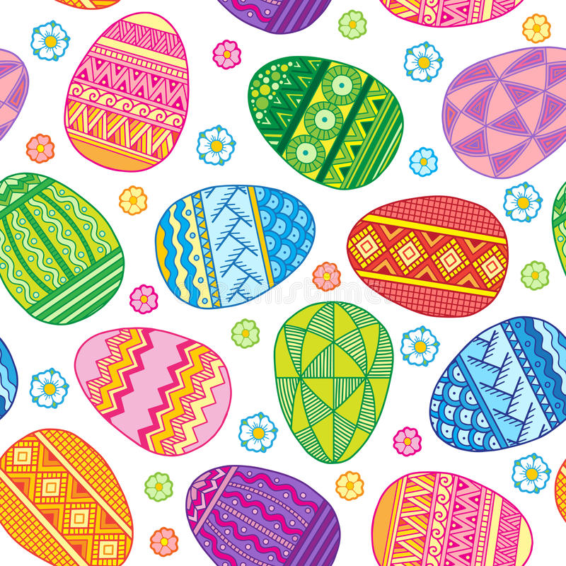 Free Vector Seamless Pattern Bright Easter Eggs Royalty Free Stock Image - 86152976
