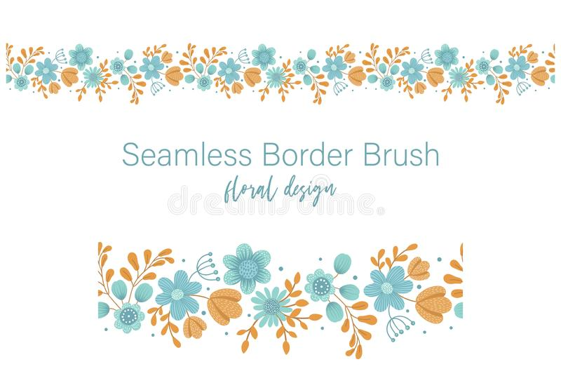 Vector seamless pattern brush of green leaves with orange and blue flowers on white background. Floral border ornament. Trendy royalty free illustration