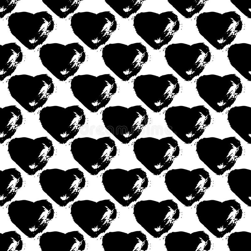 Vector seamless pattern with brush heartss. Black color on white background. Hand painted grange texture. Ink grange. Elements. Decorative ornament of love sign vector illustration