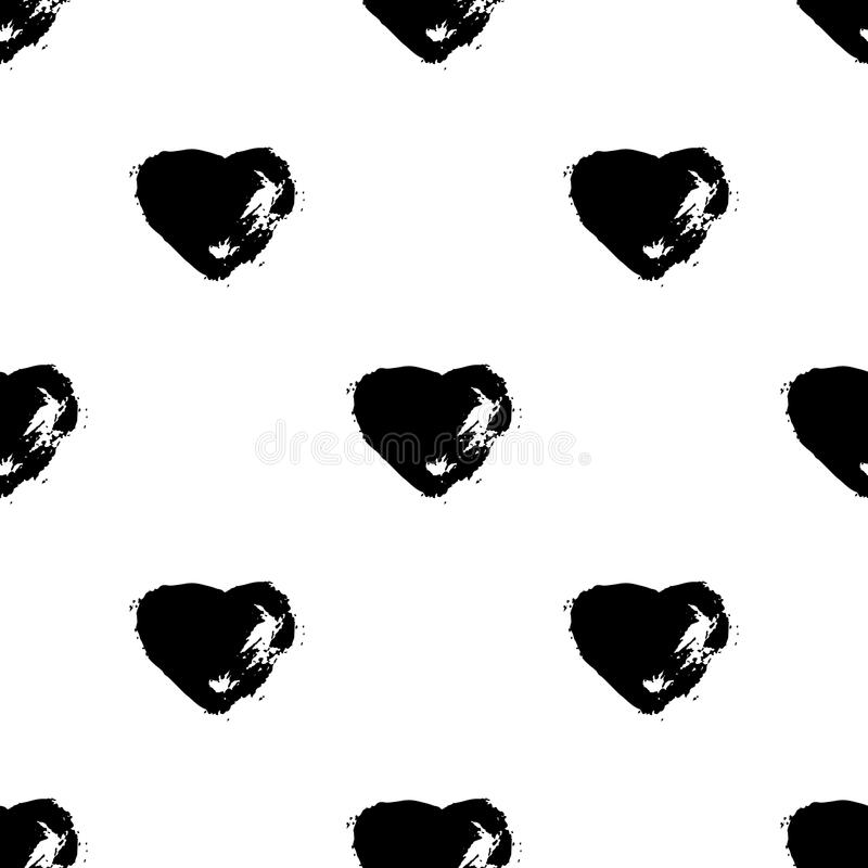 Vector seamless pattern with brush heartss. Black color on white background. Hand painted grange texture. Ink grange. Elements. Decorative ornament of love sign royalty free illustration