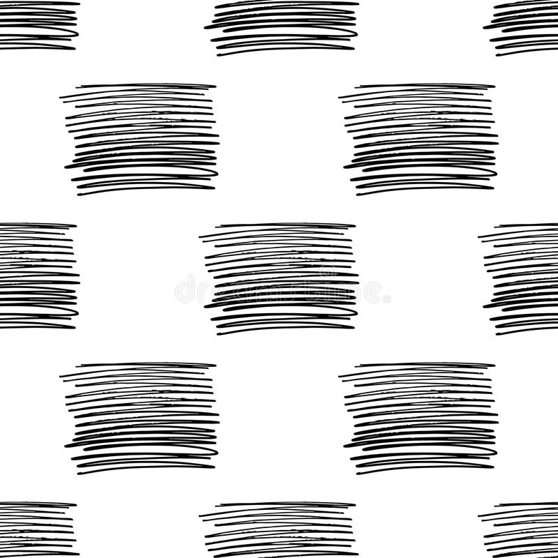 Vector seamless pattern with brush stripes . Black color on white background. Hand painted grange line texture. Ink. Geometric vertical elements. Simple kid stock illustration