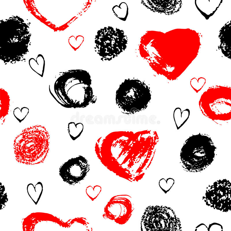 Vector seamless pattern with brush stripes and strokes. Black red color on white background. Hand painted grange texture royalty free illustration