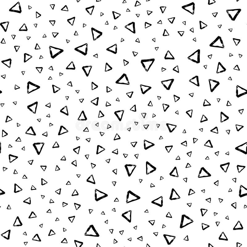 Vector seamless pattern with brush stripes and triangle. Black color on white background. Drawing grange texture. Ink royalty free illustration