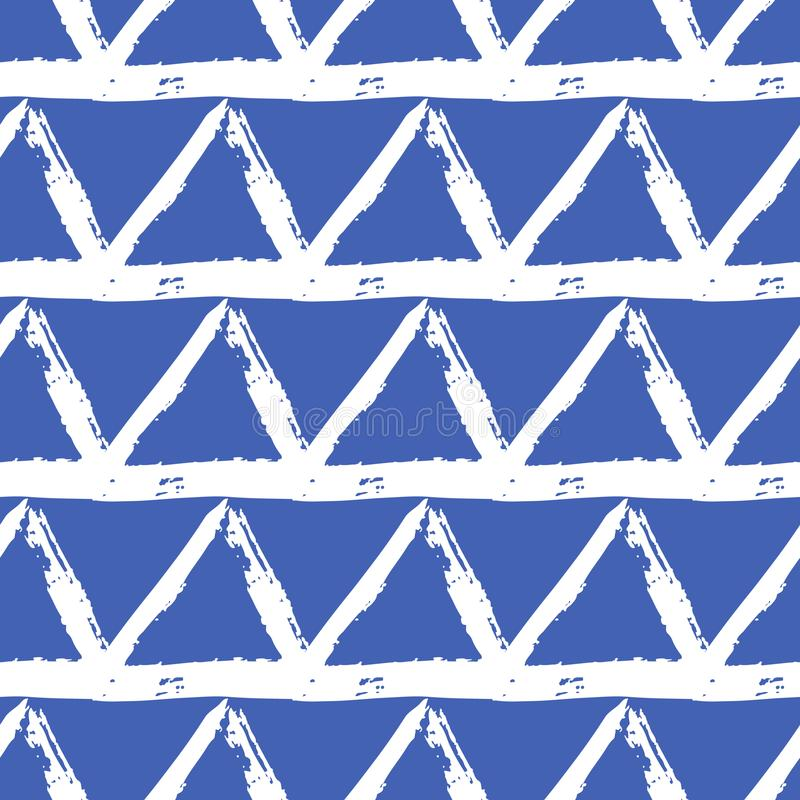 Vector seamless pattern with brush stripes and triangle. White color on blue background. Drawing grange texture. Ink stock illustration