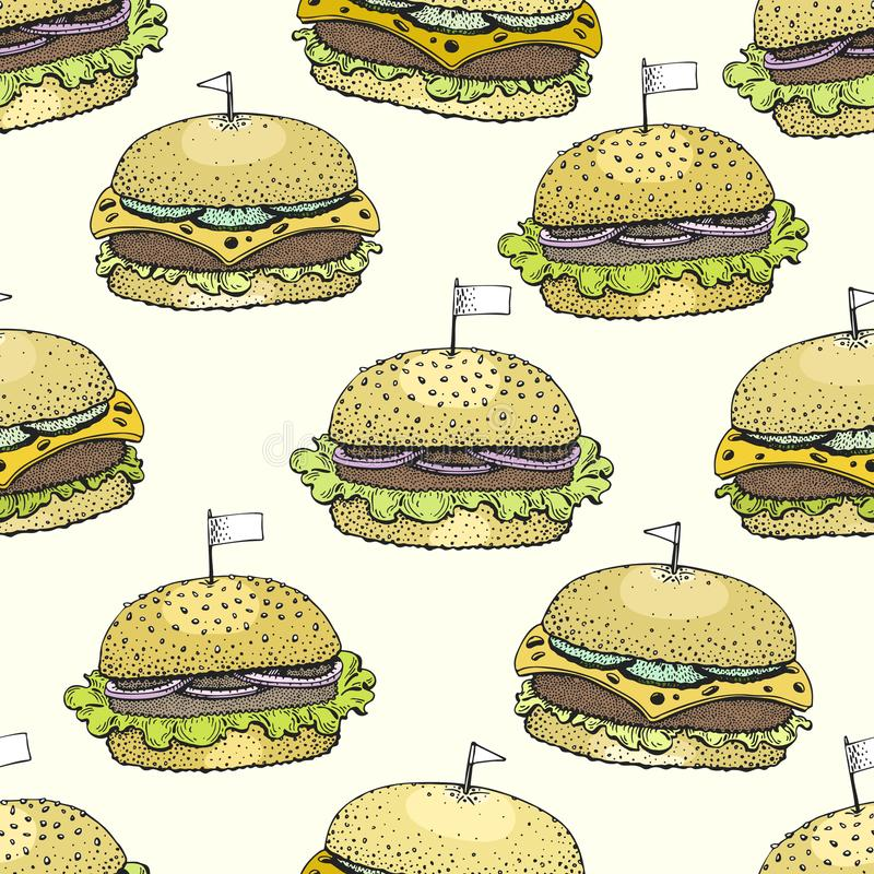 Vector seamless pattern with burgers. Hand drawn vector background. Fast food illustration. Hand drawn image. American stock illustration