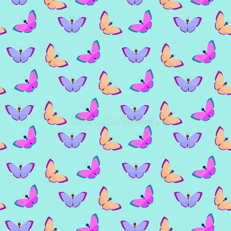 Vector seamless pattern with butterflies on a blue background stock photography