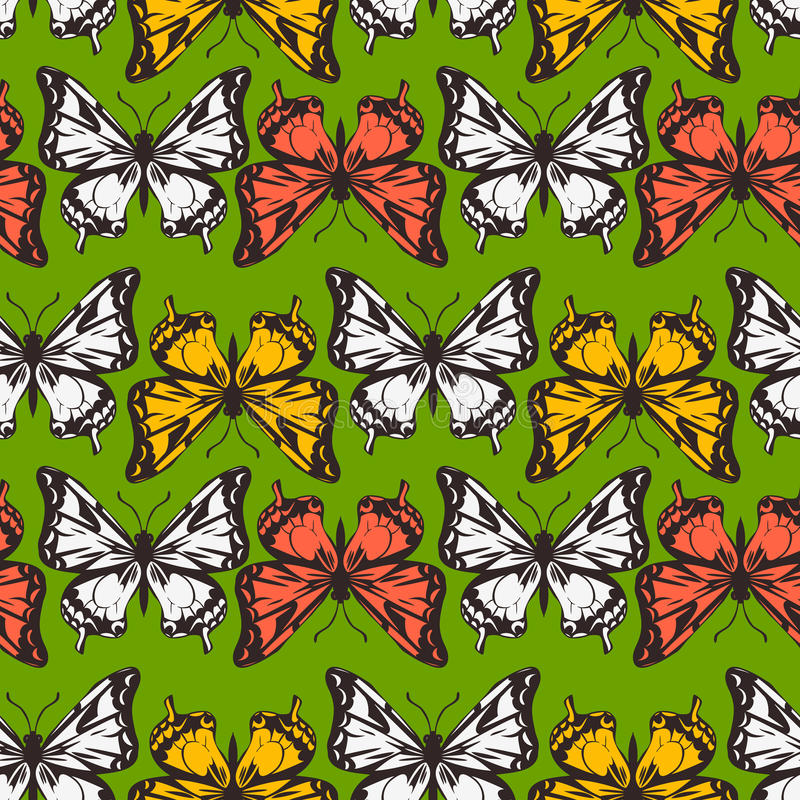 Download Vector Seamless Pattern Of Butterflies Stock Vector - Illustration of line, summer: 35717813