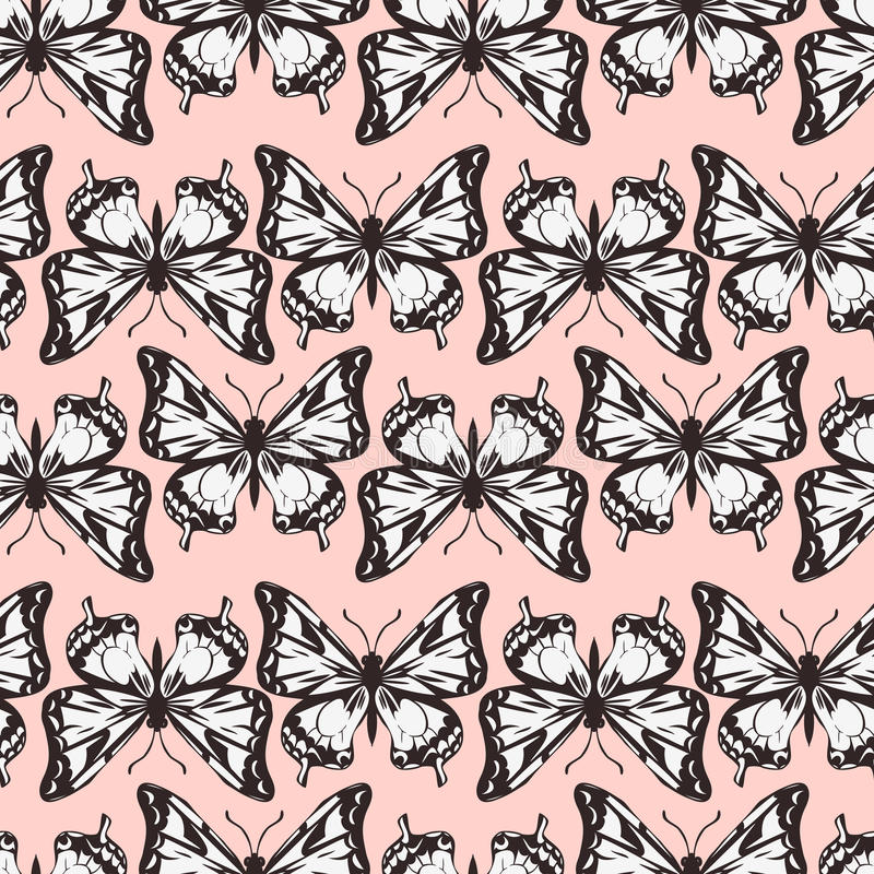 Download Vector Seamless Pattern Of Butterflies Royalty Free Stock Images - Image: 35717859