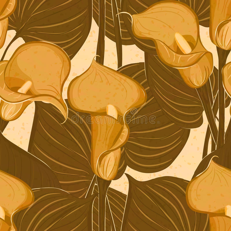 Vector Seamless Pattern With Calla Flowers Stock Image