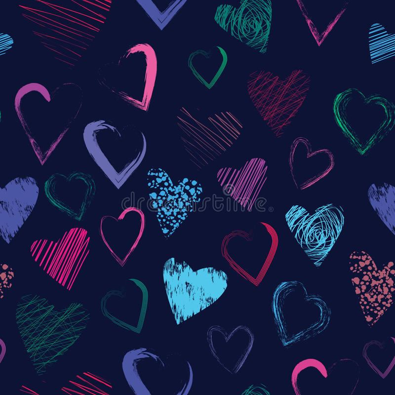 Vector seamless pattern with calligraphic brush hearts stock illustration