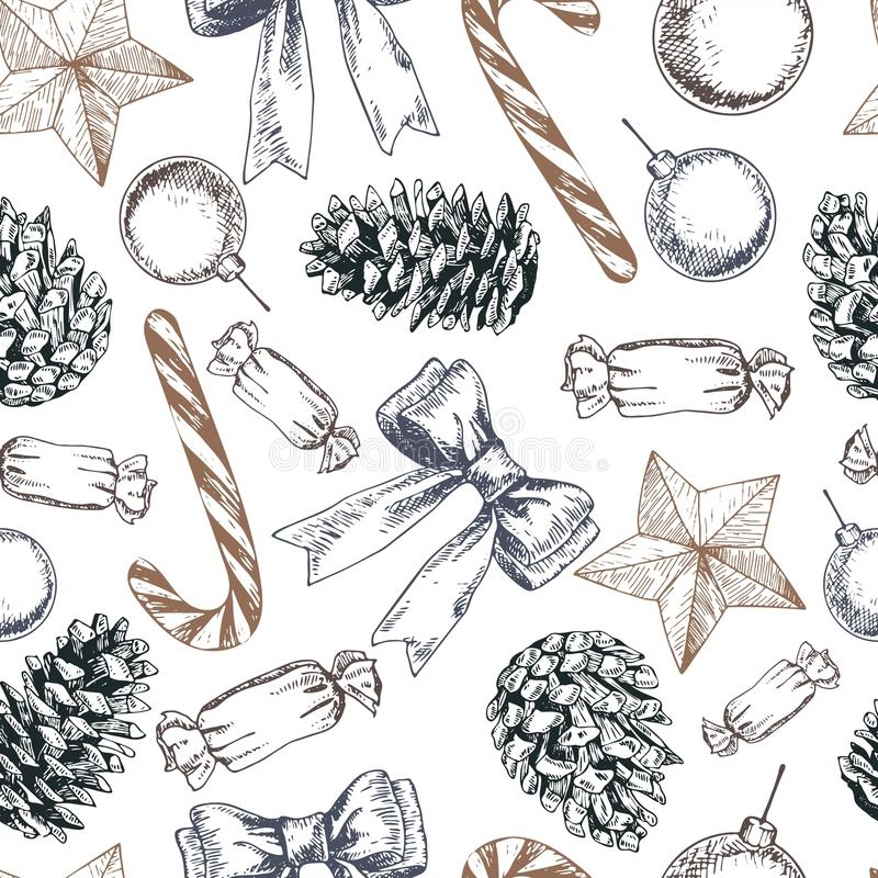 Vector seamless pattern of candies, cones, bow and star. Hand drawn vintage elements. Christmas decoration. stock illustration