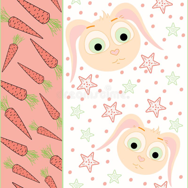 Vector seamless pattern with carrot and rabbit illustration. The template for the cover fabric, books vector illustration