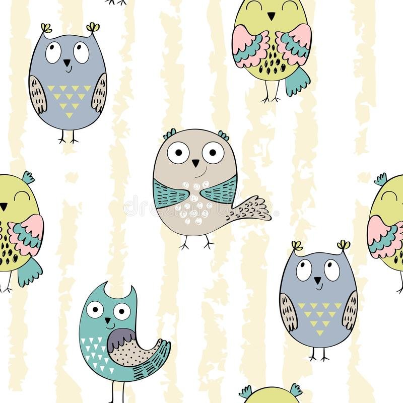 Vector seamless pattern. With cartoon baby owls vector illustration