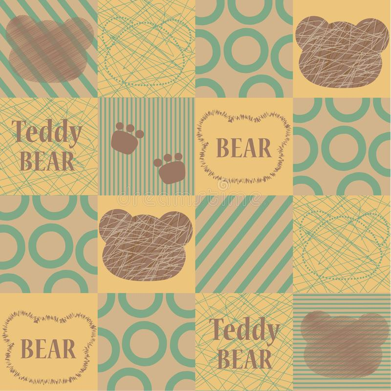 Vector seamless pattern with a cartoon bear and inscriptions. Cute print. royalty free illustration