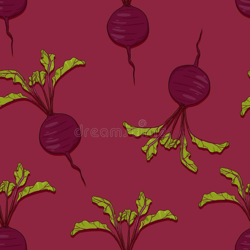 Vector Seamless Pattern of Cartoon Beetroots. On Red Background royalty free illustration