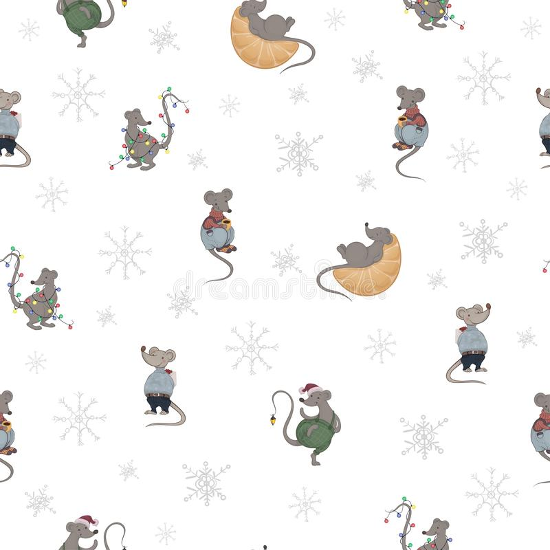 Vector seamless pattern with cartoon cute gray mice in a warm clothing with present box, Christmas lights and mandarin royalty free illustration