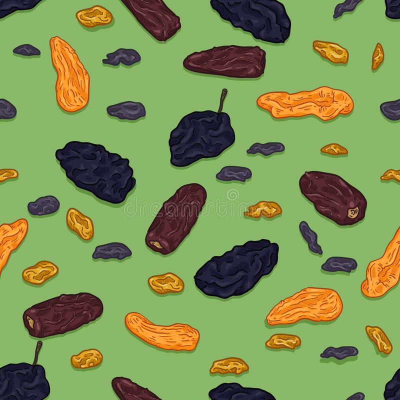 Vector Seamless Pattern of Cartoon Dried Fruits on Green Background. Prune, Date Fruit, Raisin and Dried Apricot vector illustration
